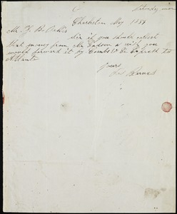 James Barnes, Charleston, S.C., autograph note signed to Ziba B. Oakes, May 1854