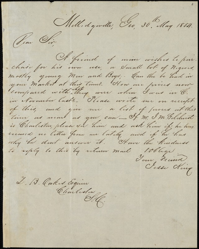 Jesse King, Milledgville, Ga., autograph letter signed to Ziba B. Oakes, 30 May 1854