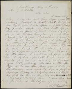 A. J. McElveen, Sumterville, S.C., autograph letter signed to Ziba B. Oakes, 30 May 1854