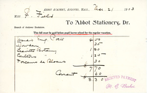 Bill to the Abbot Academy bookstore, March 21, 1903