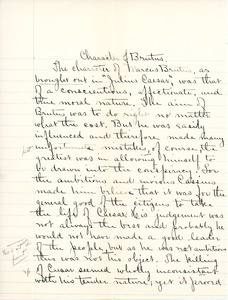 """""""Characher to Brutus"""" essay for English IV by Sarah (Sallie) M. Field, Abbot Academy, class of 1904"""