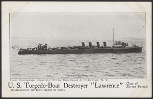 "U.S. Torpedo-Boat Destroyer ""Lawrence,"" displacement 402 tons, speed 30 knots, class of sixteen vessels"