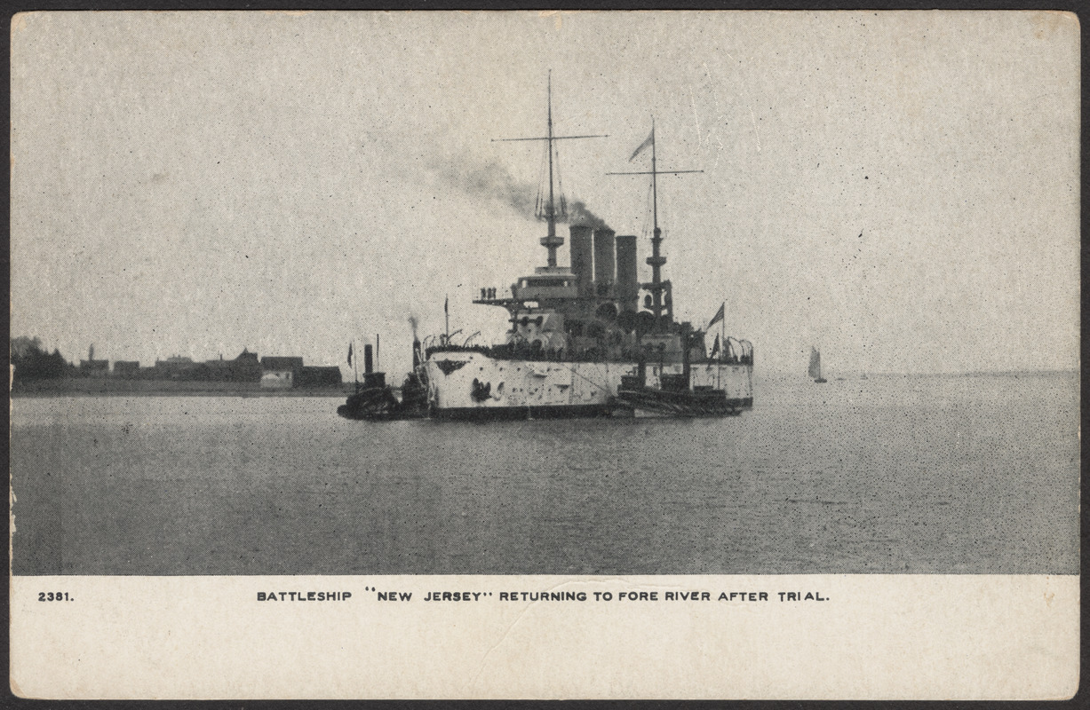 """Battleship """"New Jersey"""" returning to Fore River after trial"""