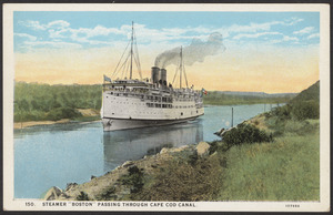 "Steamer ""Boston"" passing through Cape Cod Canal"