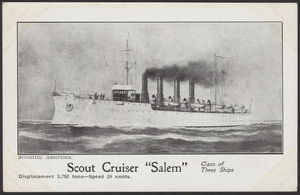 "Scientific American. Scout Cruiser ""Salem,"" class of three ships, displacement 3,750 tons, speed 24 knots"
