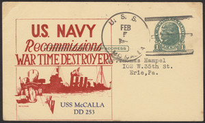 U.S. Navy recommissions war time destroyers, USS McCalla DD 253