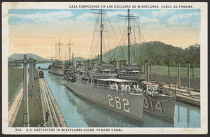 U.S. destroyers in Miraflores Locks, Panama Canal