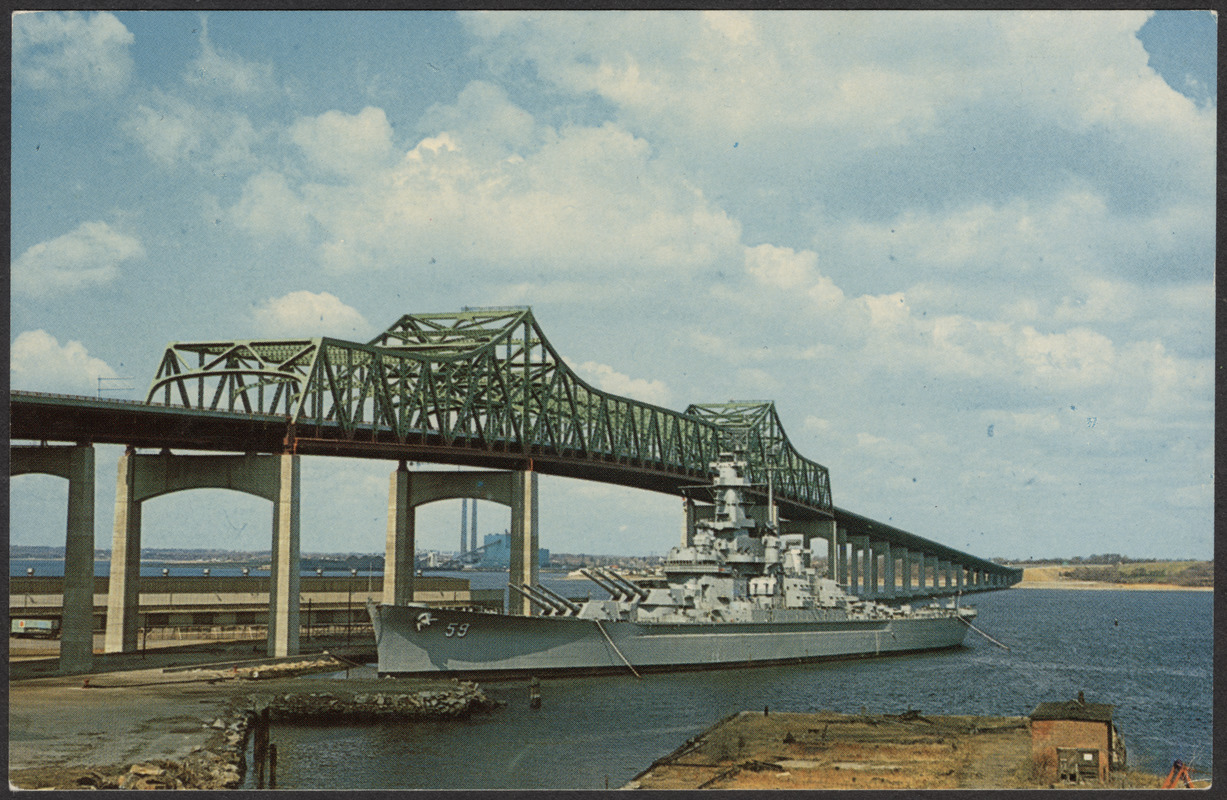 The battleship U.S.S. Massachusetts and Braga Bridge, Fall River, Massachusetts