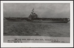 New York Naval Shipyard, Naval Base, Brooklyn 1, N.Y., NY3-733 (G)-11-51, U.S.S. Wasp CV 18. 14 November 1951