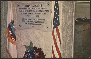 Crypt (plaque: John Adams, signer of the Declaration of Independence...)