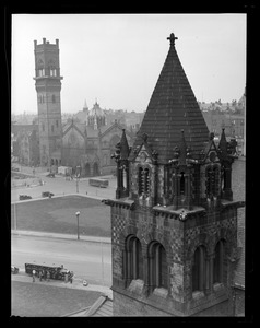 New Old South Church tower being razed as it is leaning. From Hotel Westminster, Copley Square