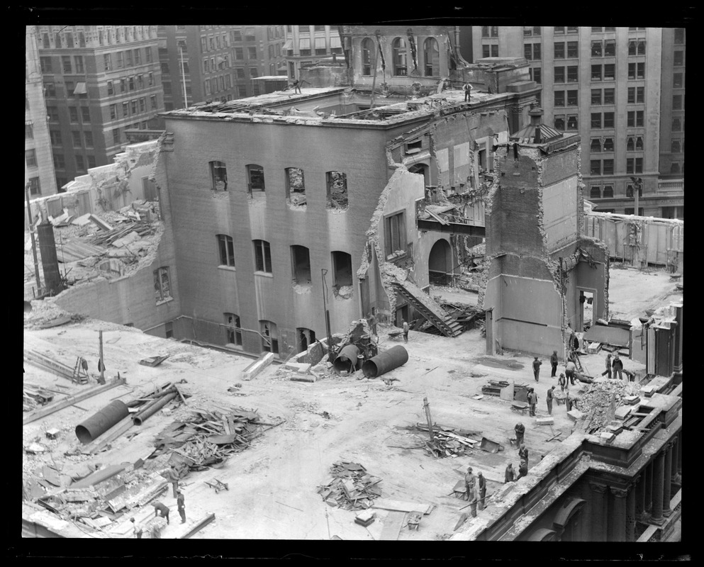 Tearing down the old post office building, Boston