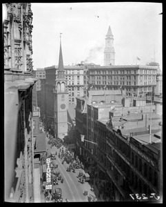 Birdseye view of Old South Church & Custom House tower