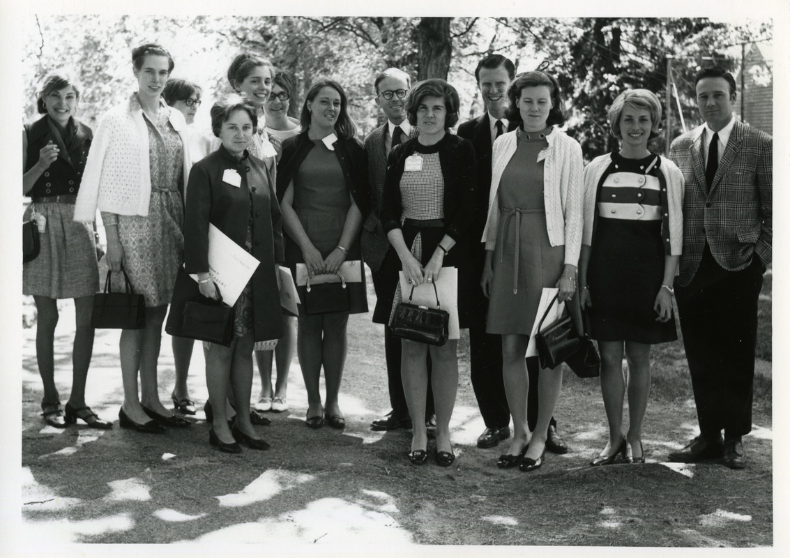 Class Of 1959 And Spouses Alma Grew Marilyn Fairfax Sue Calman Faith Critchley Holly Roberts Susan Bradley Charlie Flather Kitty Sides Flather Tom Hatch Sue Whaley Field Marshall Field Digital Commonwealth