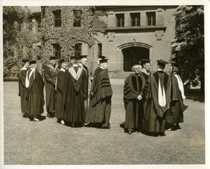 Abbot Academy 1957 Commencement: Dr. Buttrick, Speaker, with Dr. Sidan and other faculty