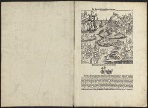 Leaves from Liber chronicarum, with views of de Sarmatia regione Europe, Cracovia, Lubeca and Nissa