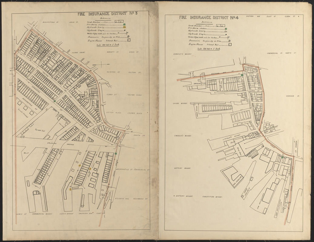 Fire insurance district atlas showing the fire insurance districts of the city of Boston