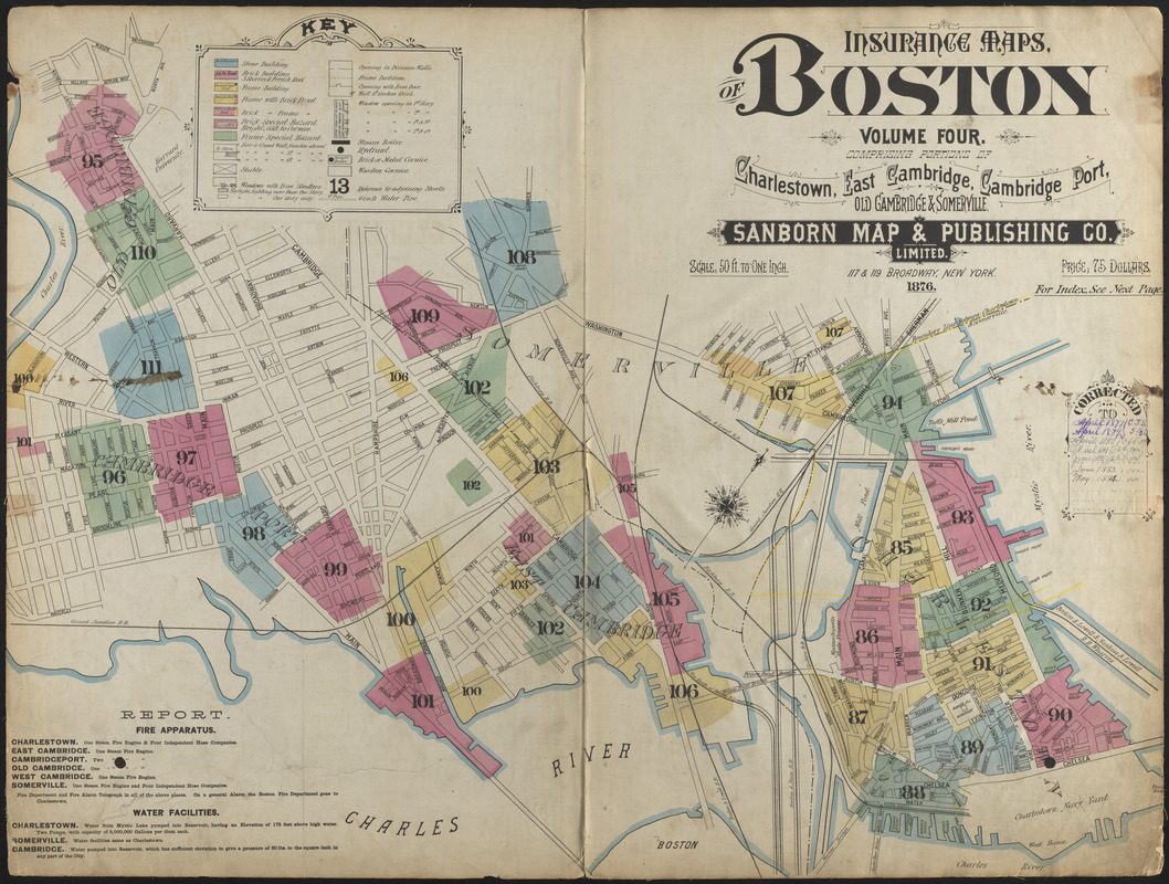 Insurance maps of Boston volume 4 : comprising portions of Charlestown, East Cambridge, Cambridge Port, Old Cambridge & Somerville