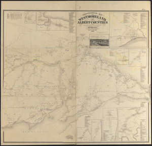 Topographical map of Westmoreland and Albert Counties