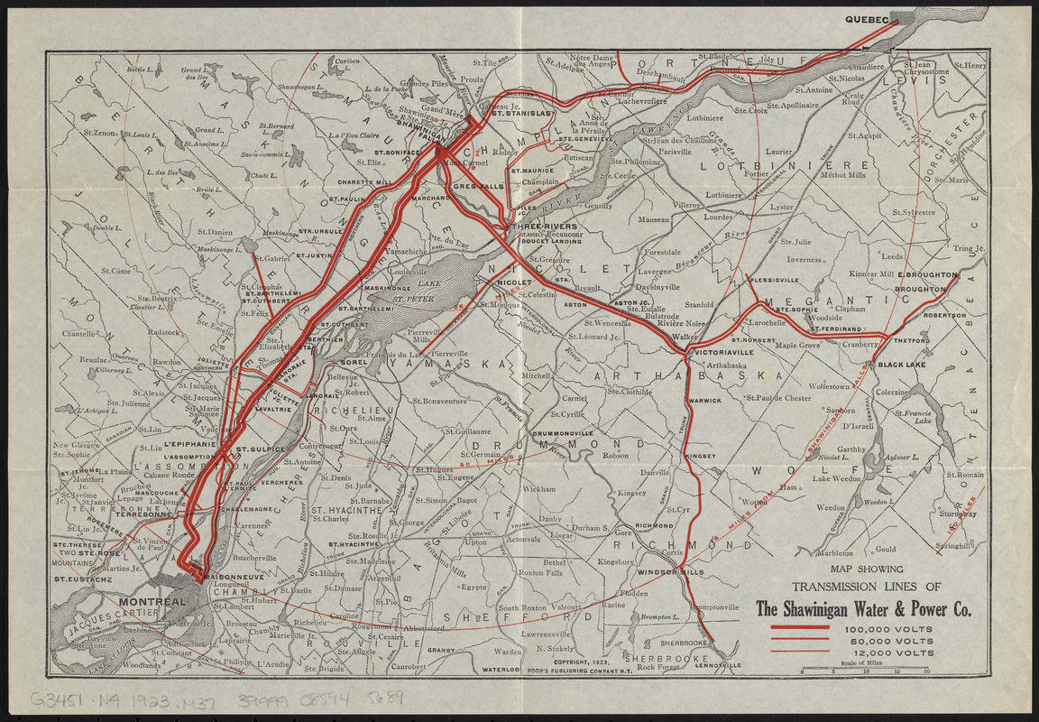 Map showing transmission lines of the Shawinigan Water & Power Co.