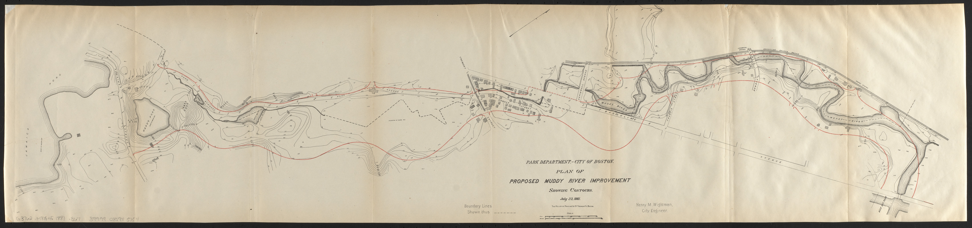 Plan of proposed Muddy River improvement, showing contours