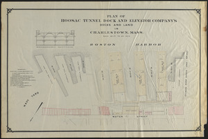 Plan of Hoosac Tunnel Dock and Elevator Company's docks and land in Charlestown, Mass.