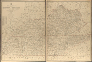Post route map of the states of Kentucky and Tennessee showing post offices with the intermediate distances and mail routes in operation on the 1st of December, 1903