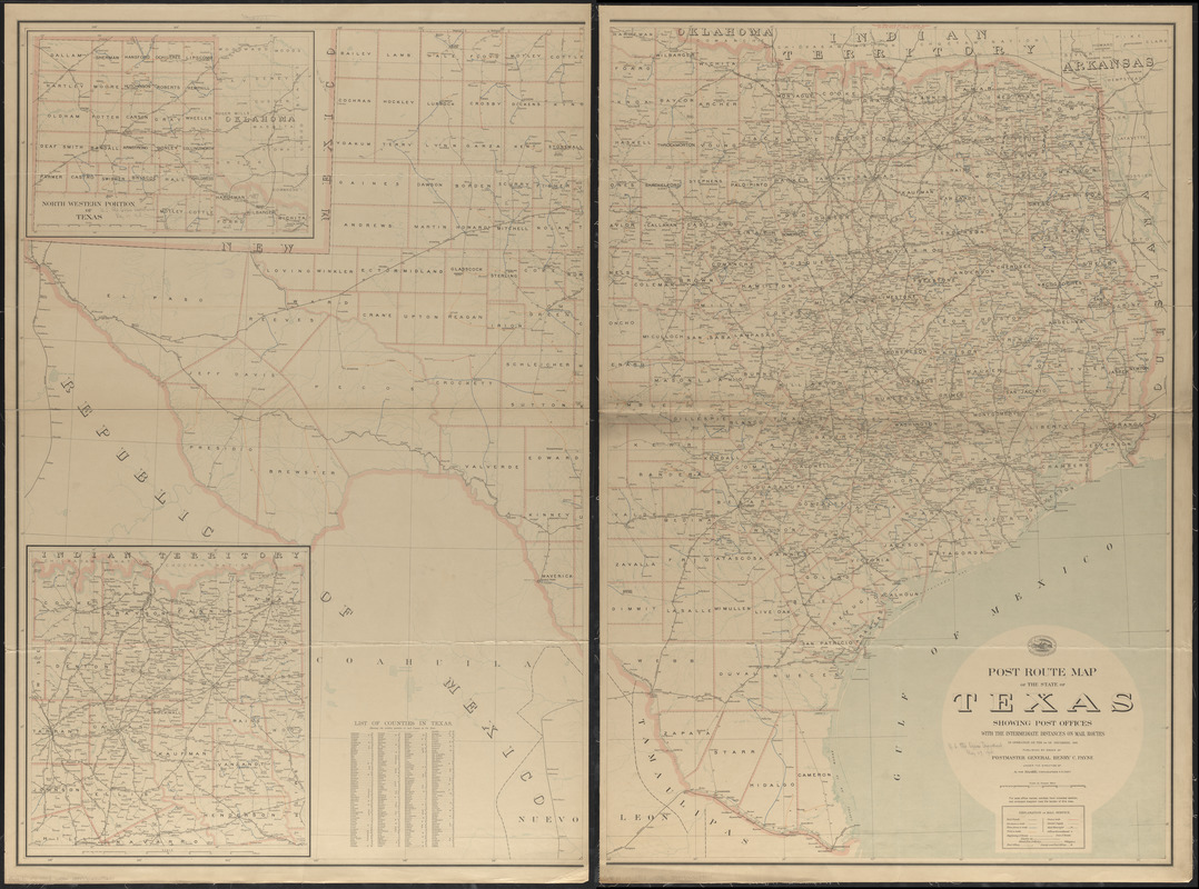 Post route map of the state of Texas showing post offices with the intermediate distances on mail routes in operation on the 1st of December, 1903