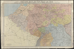 Philips' map of the seat of war shewing the country from Paris to Berlin, with the Rhine Provinces on a large scale