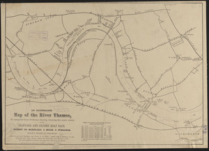 An illustrated map of the River Thames, as compiled from Ordnance Survey, showing the exact course of the Harvard and Oxford Boat Race