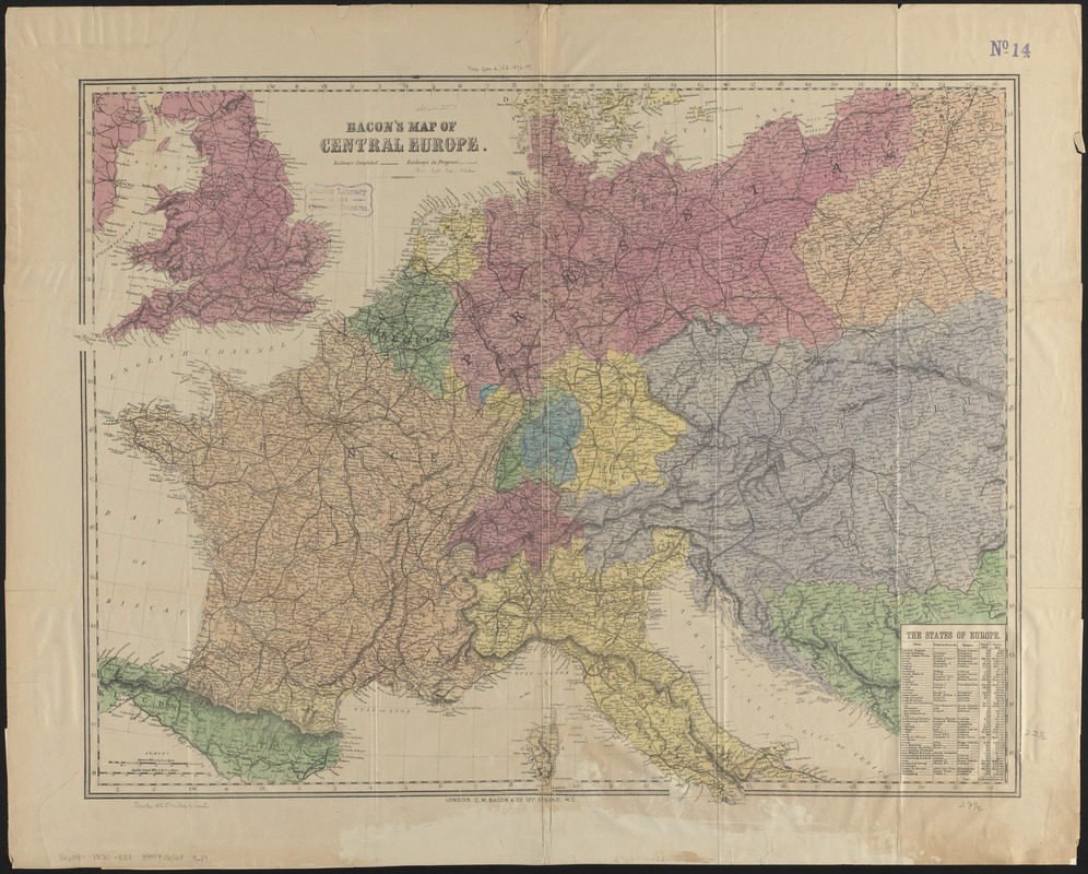 Bacon\'s map of Central Europe - Norman B. Leventhal Map & Education ...