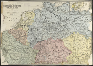 War map of Central Europe from Paris to Vienna