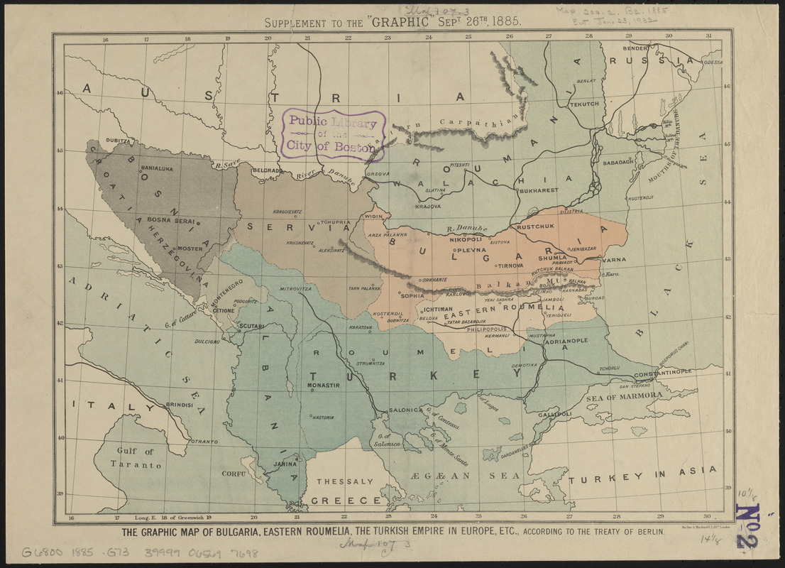The Graphic map of Bulgaria, eastern Roumelia, the Turkish Empire in Europe, etc., according to the Treaty of Berlin