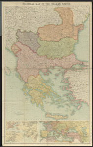 Political map of the Balkan States