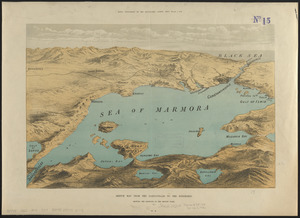 Sketch map from the Dardanelles to the Bosphorus showing the positions of the British fleet