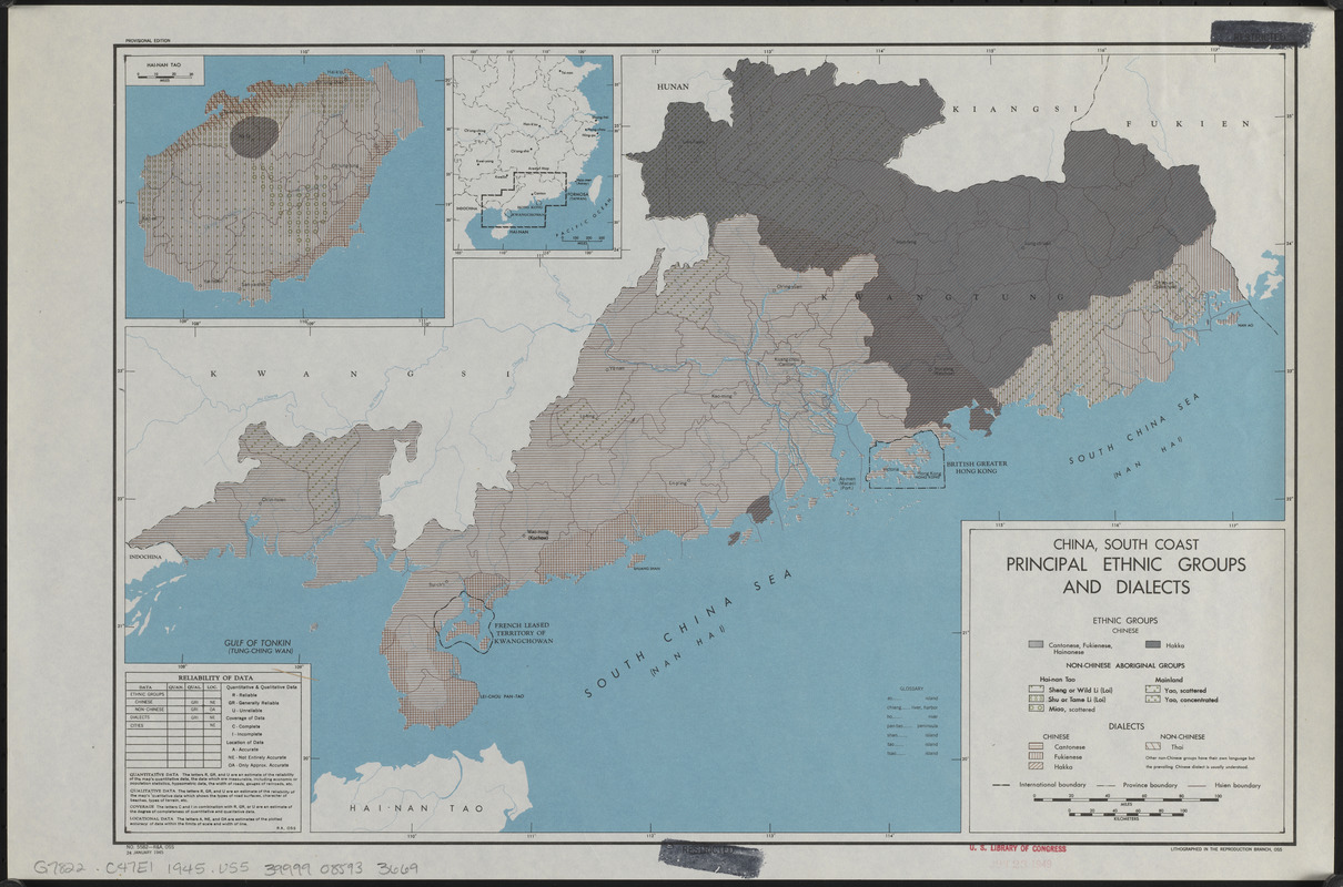 China, south coast, principal ethnic groups and dialects