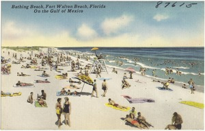 Bathing beach, Fort Walton Beach, Florida. On the Gulf of Mexico