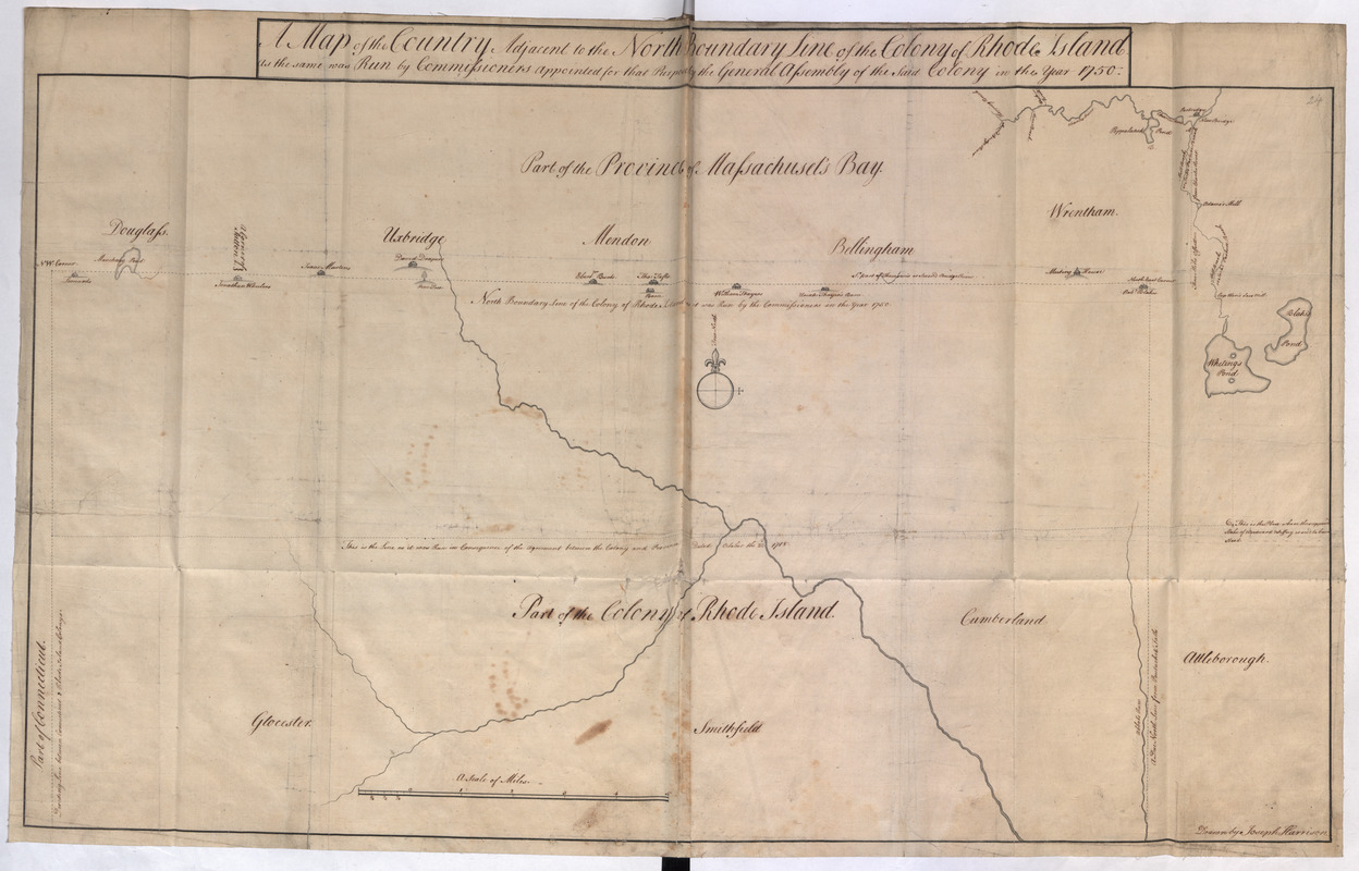 A Map of the Country Adjacent to the North Boundary Line of of the Colony of Rhode Island as the same was Run by Commissioners appointed for that Purpose by the General Asssembly of the Said Colony in the year 1750