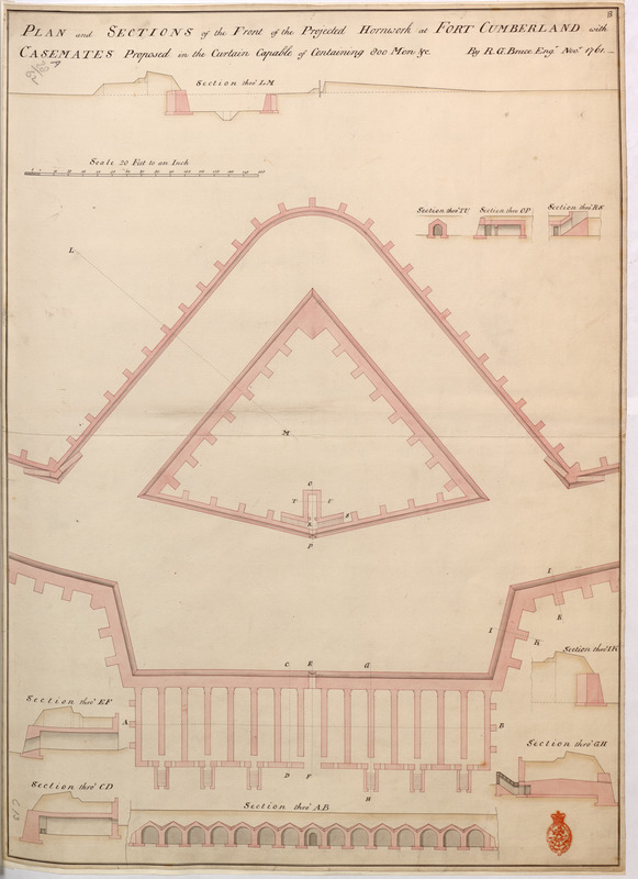 PLAN and SECTIONS of the Front of the Projected Hornwork at FORT CUMBERLAND with CASEMATES Proposed in the Curtain Capable of Containing 800 Men &c