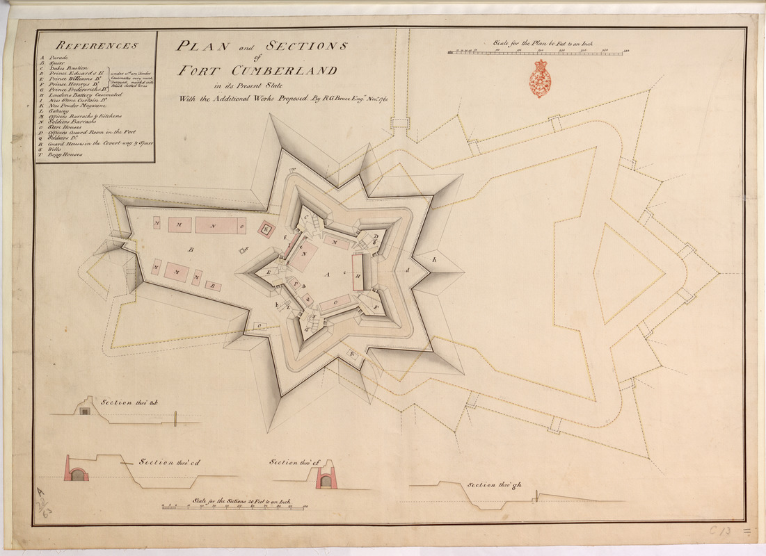 PLAN and SECTIONS of FORT CUMBERLAND in its Present State With the Additional Works Proposed