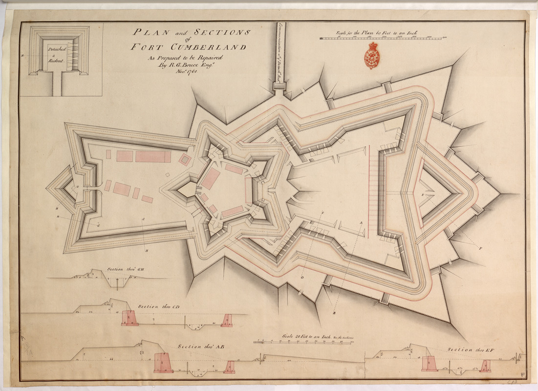 PLAN and SECTIONS of FORT CUMBERLAND As Proposed to be Repaired