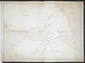 [Map showing neck of land between 'Baye francaise' and 'Baye verte']