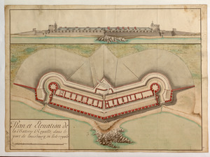 Plan et Elevation de la Batterie Royalle, dans le port de louisbourg, en l'isle royale