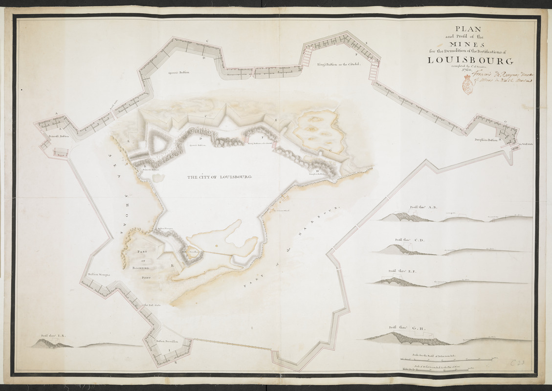 PLAN and Profil of the MINES for the Demolition of the Fortification of LOUISBOURG completed the 8.th of November 1760