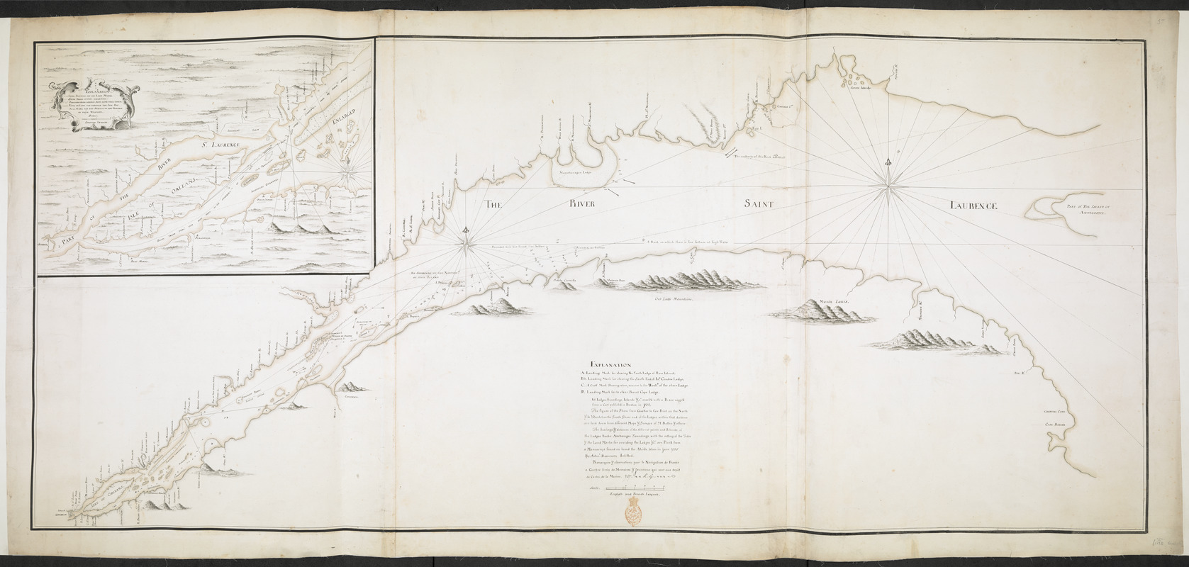 [Chart of the Saint Lawrence River from Anticosti to Quebec]