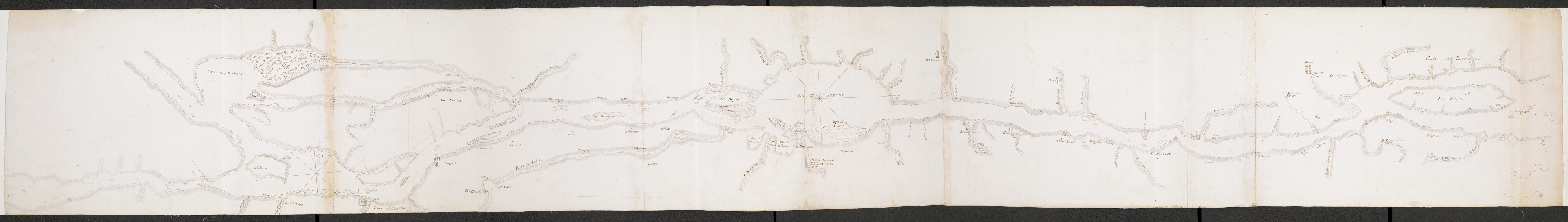 [An unfinished chart of the Saint Lawrence River from Perrot Island to the Island of Orleans]