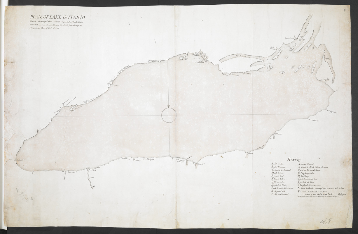 PLAN OF LAKE ONTARIO Copied and inlarged from a French Original, the North Shore corrected in some places, likewise the South from Oswego to Niagara by a Sketh of Cap. Sowers