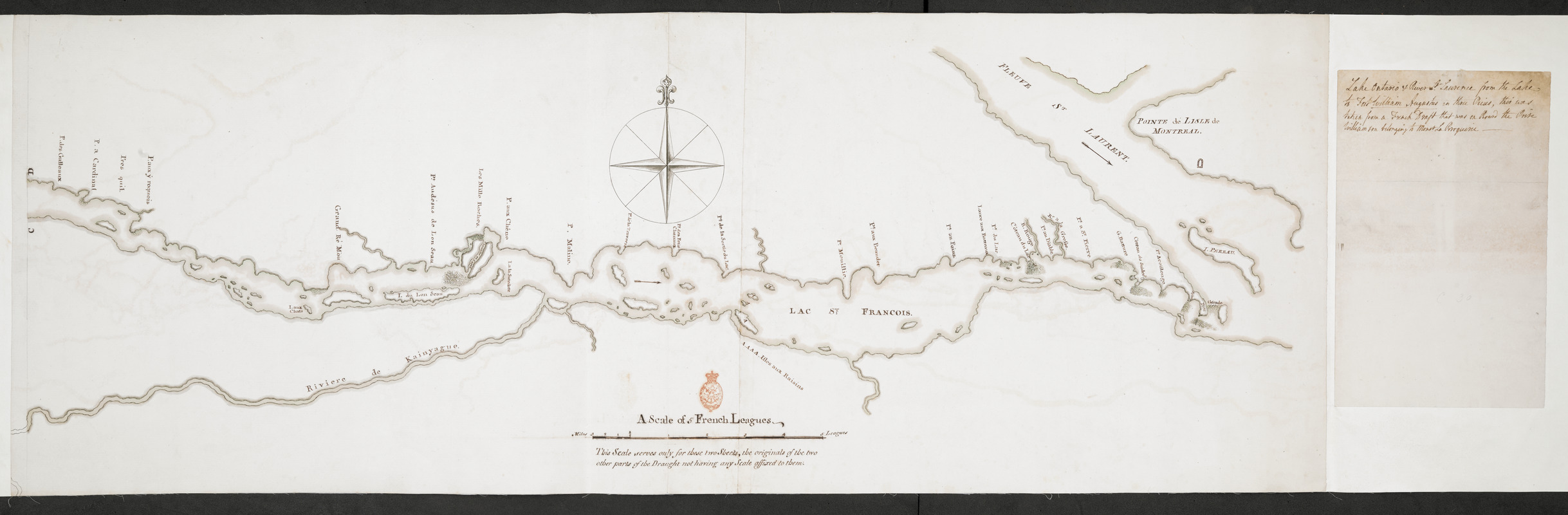 Lake Ontario & River S.t Laurence from the Lake to Fort William Augustus in Three Rivers, this was taken from a French Draft that was on Board the Prise Williamson belonging to Monsr La Broquerie [east sheet]