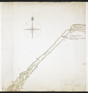 Lake Ontario & River S.t Laurence from the Lake to Fort William Augustus in Three Rivers, this was taken from a French Draft that was on Board the Prise Williamson belonging to Monsr La Broquerie [middle sheet]
