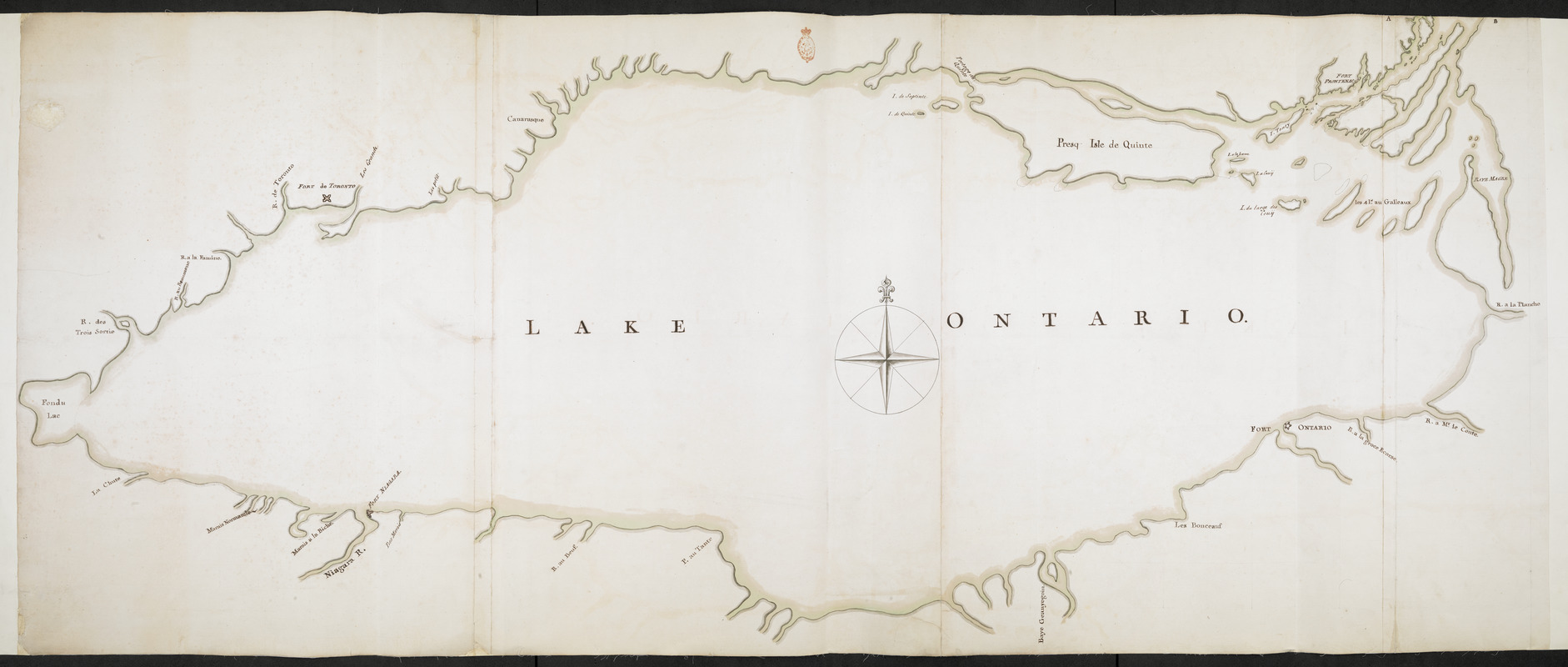 Lake Ontario & River S.t Laurence from the Lake to Fort William Augustus in Three Rivers, this was taken from a French Draft that was on Board the Prise Williamson belonging to Monsr La Broquerie [west sheet]